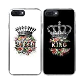 T TTOTT 2x Fashion King Queen Crown Pattern with Slim soft TPU Enge and Hard PC Back best friends lovers phone cover cases for iPhone 7 Plus-- White Queen and Black King