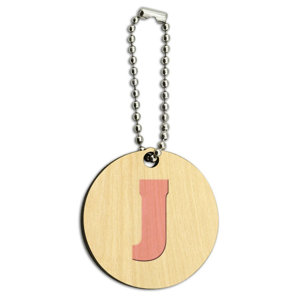 Letter J Initial Baby Girl Block Font Pink Shower Wood Wooden Round Key Chain