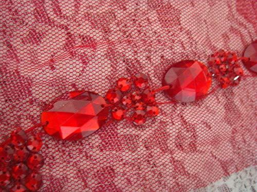 (1 pc v-Neck red Tulle Rhinestone Applique Collar Neckline 10W x 15L #ID-19)