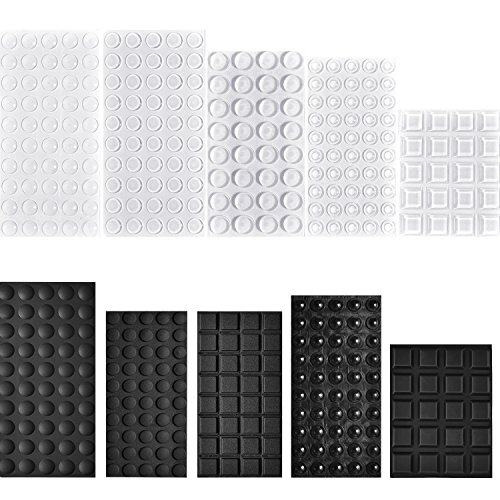Hestya 404 Pieces Rubber Feet Adhesive Bumper Pad Self Stick Furniture Bumpers Noise-dampening Buffer Pads for Doors Cabinets Drawers, Clear and Black, 10 Different Sizes
