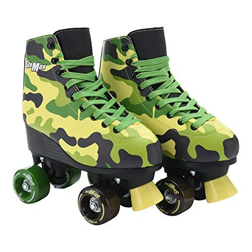 Stemax Quad Roller Skates for Girls & Boys, Men & Women Outdoor Classic High Cuff Quad Skates with Lace System (Camouflage, 32)