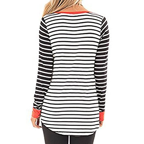 LGante Shirt Casual Taille Blouse T Round Sexy Manches Tops Grande Chemisier Orange Logues Femmes Rayures Chic Col YARwORq