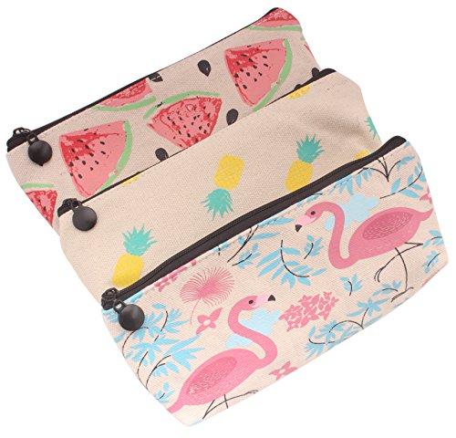 Z Zicome Canvas Pencil Pen Case Cosmetic Makeup Bag Set of 3