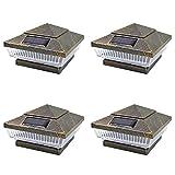 iGlow 4 Pack Vintage Bronze Outdoor 4 x 4 Solar 5-LED Post Deck Cap Square Fence Light Landscape Lamp PVC Vinyl Wood