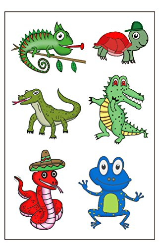 Premium Reptile Temporary Tattoos, Party Favors: Crocodile, Turtle, Frog, Chameleon, Komodo Dragon, Snake -