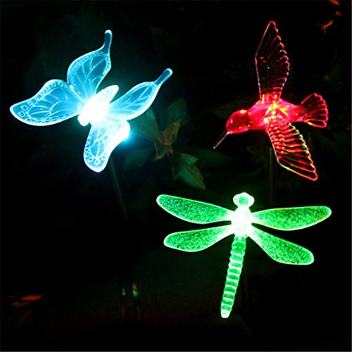 Winchance 3 Pieces of Solar Powered LED Pathway Lights Waterproof for Outdoor Garden Lawn Patio Yard Décor Lighting,Hummingbird, Butterfly and Dragonfly