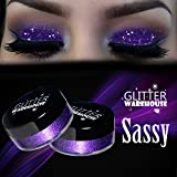Sassy GlitterWarehouse Purple Loose Glitter Powder Great for Eyeshadow / Eye Shadow, Makeup, Body Tattoo, Nail Art and More!
