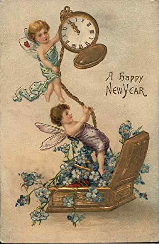 (A happy New Year Angels & Cherubs Original Vintage Postcard)