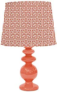 Urban Shop Porcelain Lamp with Tori Lamp Shade, Orange/Coral