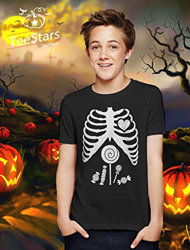 5ea1382567 TeeStars - Children Skeleton Candy Rib-cage X-Ray Halloween Funny Kids T-