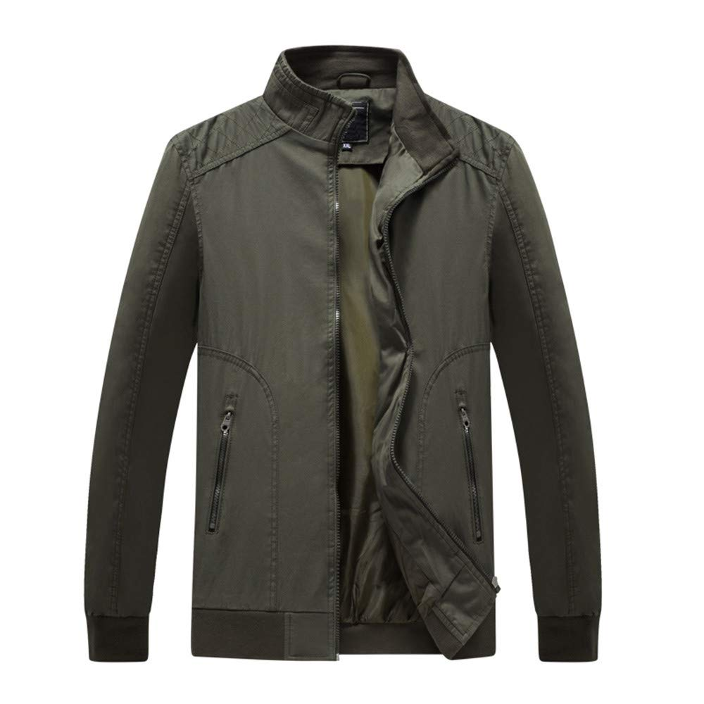 OSTELY Mens Jacket high-end Atmospheric Warm Outwear Autumn Winter Casual Stand Collar Zipper Slim Coat Tops