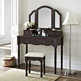 Fineboard Elegant Vanity Dressing Table Set Makeup and Stool, 4 Drawers, Brown