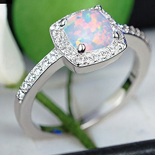 Princess Cut Created Fire Opal Engagement Ring (Silver, 8