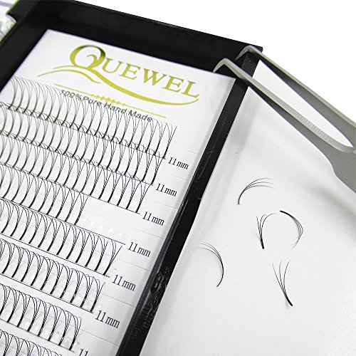 Quewel Lash Russian Volume Eyelash Extensions 3D C Curl 8-18mm Long Thickness 0.07 mm Premade Fans Volume Eyelashes Soft (3D-0.07-C, 11mm)