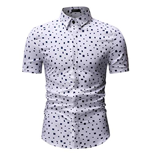 Sunhusing Men Irregular Polka Plaid Print Button-Down Short-Sleeve Work Shirt Lapel T-Shirt White