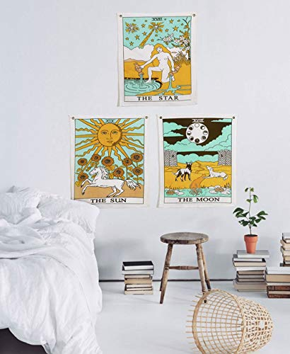 Madhu International Tarot Flag Tapestry The Sun The Moon The Star Tapestry Hippie Cotton Printed Handmade Wall Hanging Wall Tapestries with Steel Grommets (Pack of 3, 20