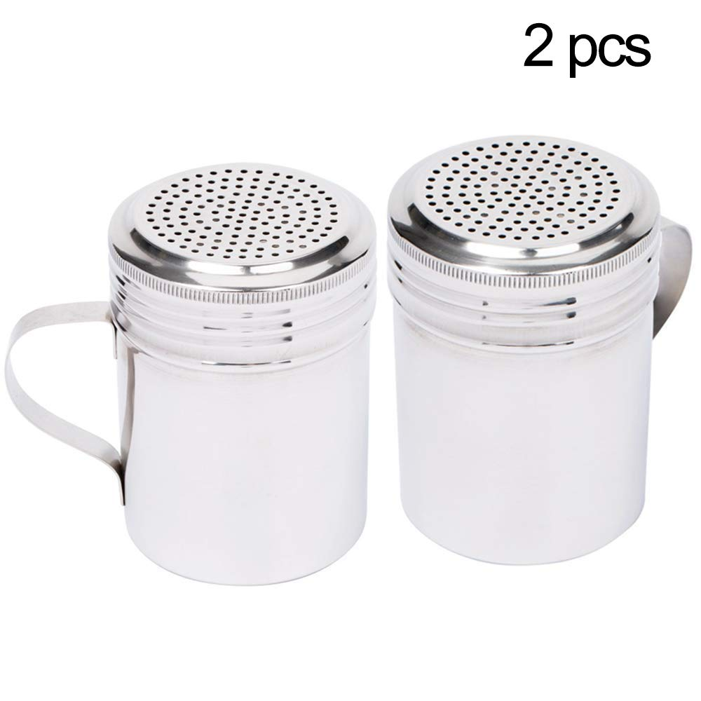 Xelparuc (Set of 2) 10-Ounce Stainless Steel Dredge Shaker with Handle Commercial Grade Spice Dredge Shaker for Restaurants Baking/Cooking