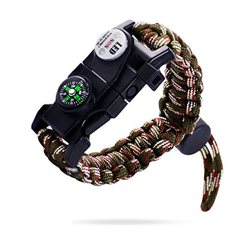 Survival Bracelet, EZ Turbo 20 in 1 Survival Paracord Bracelet, Survival Gear Kit with SOS LED Light, Emergency Knife, Whistle, Compass, Fire Starter for Camping, Climbing, Waterproof, Camouflage