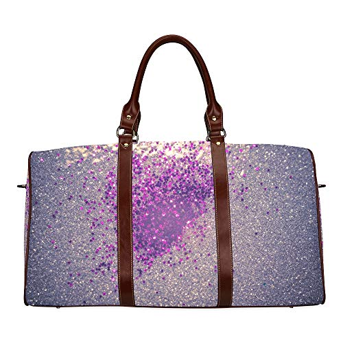 Large Leather Travel Duffel Bag For Men Women Decorative Glitter Silver Purple As Abstract Printing Waterproof Overnight Weekend Bag Luggage Tote Duffel Bags For Travel Gym Sports School Beach