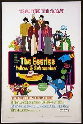 (YELLOW SUBMARINE THE BEATLES A DOZEN SONGS 1968 1-SHEET TRI-FOLDED LINENBACKED )