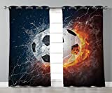 Stylish Window Curtains,Sports Decor,Soccer Ball on Fire and Water Flame Splashing Thunder Lightning Abstract,2 Panel Set Window Drapes,for Living Room Bedroom Kitchen Cafe Review