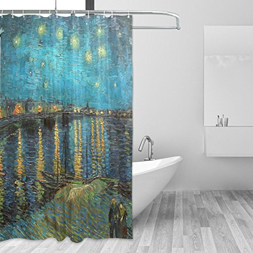 JSTEL Van Gogh Starry Night Over The Rhone Shower Curtain Mildew Resistant and Waterproof Polyester Fabric 72 x 72 Inches for Home Extra Long Bathroom Decorative Shower Bath Curtains liner with 12 Ho (Style Rhone Blend)