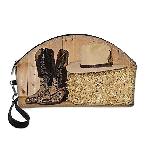Western Decor Small Portable Cosmetic Bag,Snake Skin Cowboy Boots Timber Planks in Barn with Hay Old West Austin Texas For Women,One size (Best Cowboy Boots In Austin Texas)