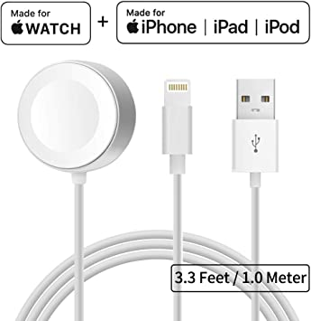 Cargador para Apple Watch iWatch Cable 2 en 1 Apple Watch & iPhone cable de Carga Rápida Magnético, Gran Cable de Repuesto para Apple Watch Series