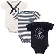 Little Treasure Baby Cotton Bodysuits, Sailor 3Pk Short Sleeve, 9-12 Months