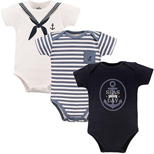 Little Treasure Baby Cotton Bodysuits, Sailor 3Pk Short Sleeve 6-9 Months (9M) ()