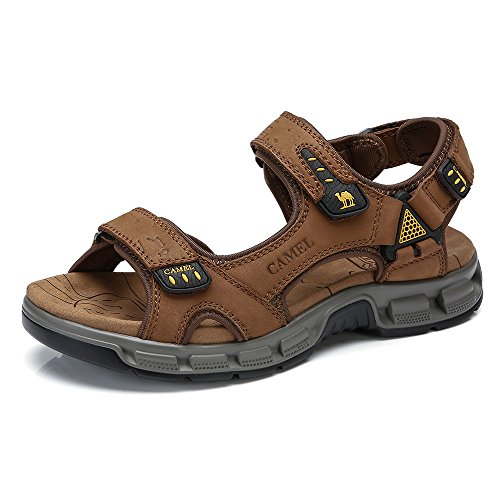 CAMEL Leather Sandals for Men Strap Athletic Shoes for Walking outdoor Summer Brown 9.5 US=10.4 inch 265 - Edge Off Road