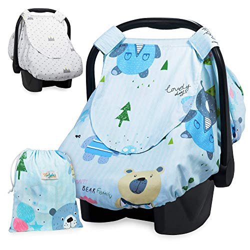 (Baby Car Seat Canopy | Reversible Infant Carrier Cover | Two Sides Breastfeeding Cover | Nursing Stroller Seat Cover for Boys or Girls)