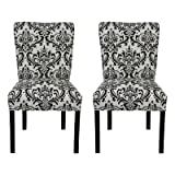 SOLE Designs Julia Collection Dining Chairs, A Set of 2 Upholstered Modern Dining Room Chairs, Side Chair, Traditions Grey Pattern For Sale