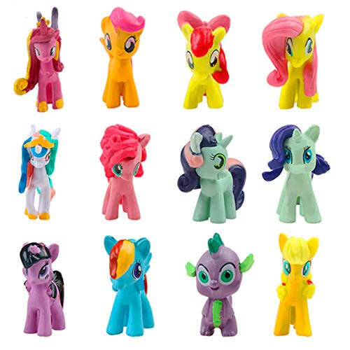 Inspired by My Little Pony Cake Toppers Cupcake figures decorative Birthday Party Pack 12pcs -
