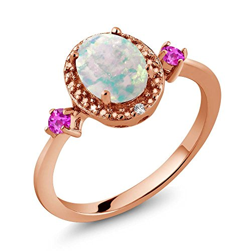 1.22 Ct Oval Cabochon White Simulated Opal Pink Sapphire 18K Rose Gold Plated Silver Ring With Accent - Ct Radiant 1.22 Diamond