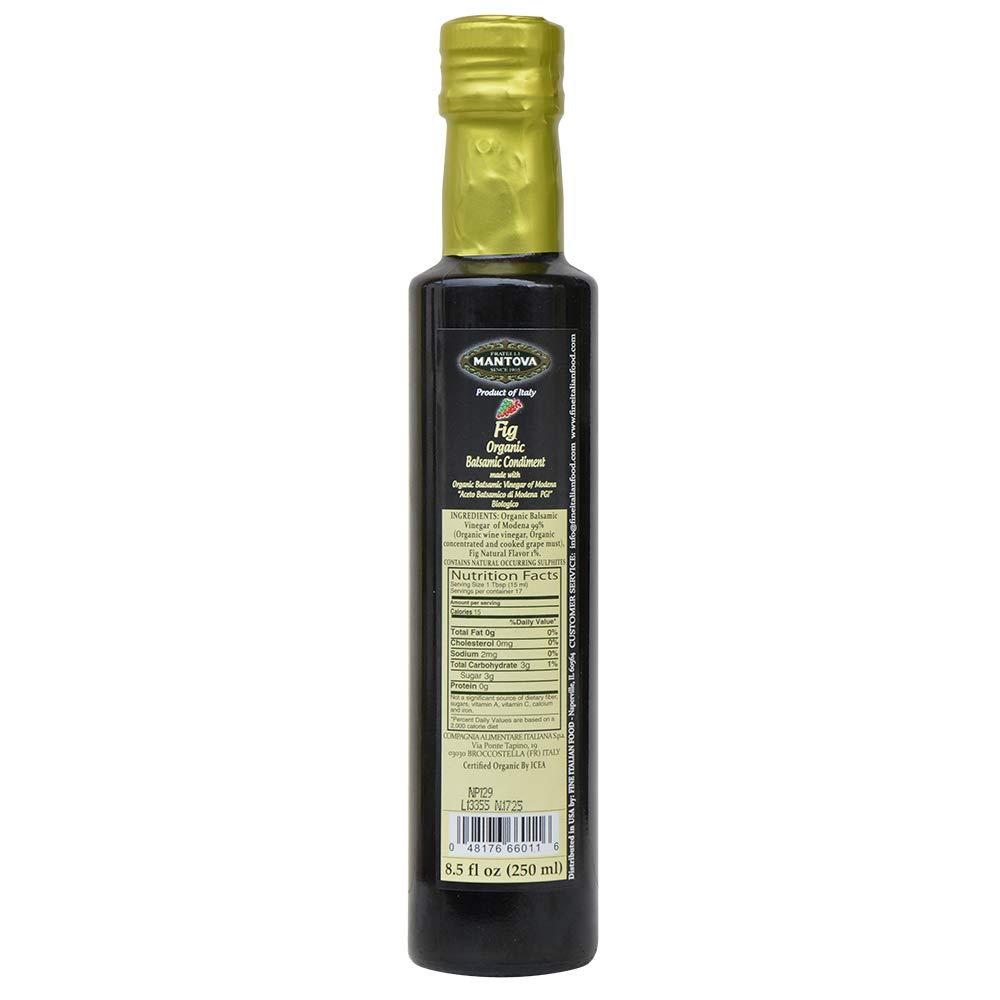 Mantova Organic Flavored Balsamic Vinegar Condiment, Pear, Raspberry, Fig and Pomegranate Vinegar 4-Pack Variety Set, 8.5 fl oz. Per Bottle Great Gift Set by Mantova