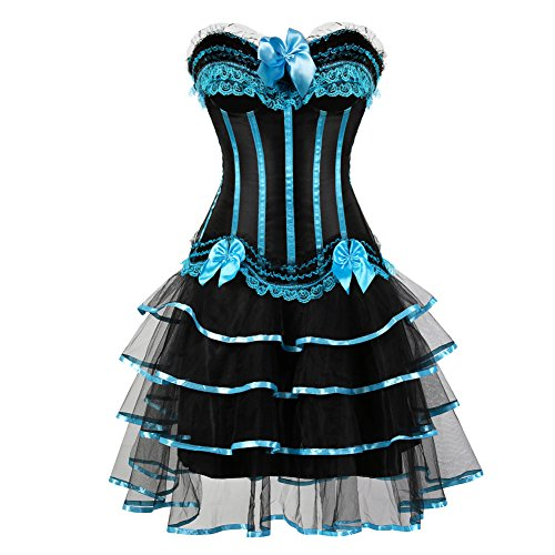 frawirshau Corset Dress Lace Overbust Corset Skirt