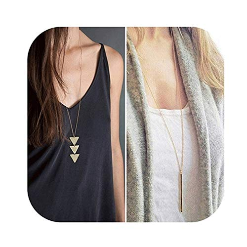 Defiro Y Layer Simple Bar Pendant Necklace Center Long Lariat Chain For Women Jewelry ()