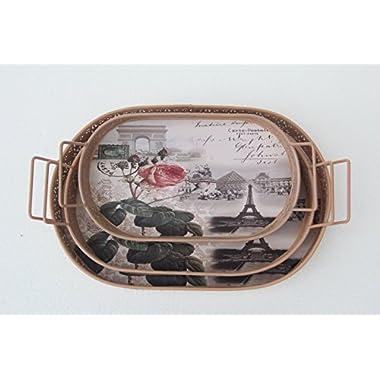 Fantastic:)™ 3pc/set Flowers Style Metal Design 3 Piece Tray Set (Copper Ellipse)