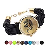Womens Elephant Watches,COOKI Unique Analog Fashion Lady Watches Female watches on Sale Casual Wrist Watches for Women,Round Dial Case Comfortable Faux Leather Watch-H35