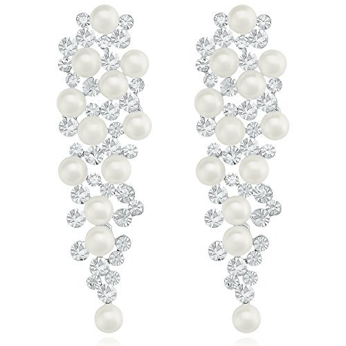Women Silver Long Chandelier Earrings Crystal Cluster Drop Simulated Pearl Dangle Earrings for Wedding