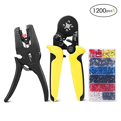 Crimper Plier Set Amzdeal Crimping Tool Kit Ferrule Crimper with Wire Stripper, 1200 Terminal Connector Sleeves, and Adjustable Ratchet Pliers for - Square Crimper