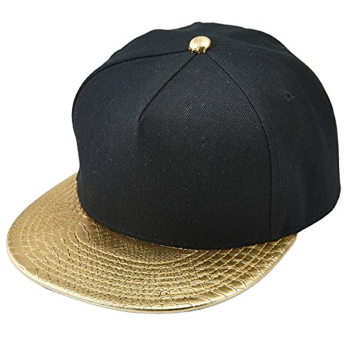 Samtree Unisex Snapback Hats,Adjustable Hip Hop Flat Brim Baseball Cap (02-Gold & Black)