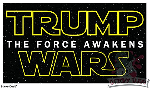 2 pcs - Donald Trump Wars The Force Awakens Yellow Font STICKER / DECAL USA American Flag cute, funny and nice for car, laptop, ipad, mac, truck, iphone and personal staffs