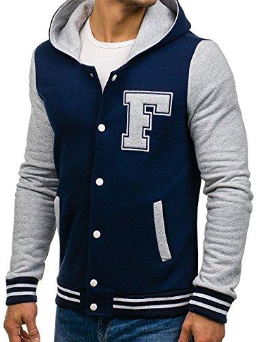 Bolf Blu Con 4d4 Bottoni Giacca Scuro Baseball – Uomo Motivo Hoodie Jacket Cappuccio ggqAUB