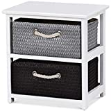 Giantex Nightstands Wooden End Tables W/Knitted Drawers Bedside Table Storage Organizer for Living Room Bedroom Bathroom Side Table (Two Drawers Nightstand)