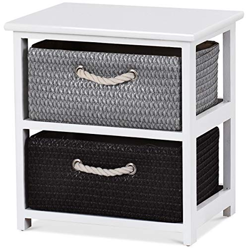 Nightstand W/2 Drawers - Giantex Nightstands Wooden End Tables W/Knitted Drawers Bedside Table Storage Organizer for Living Room Bedroom Bathroom Side Table (Two Drawers Nightstand)