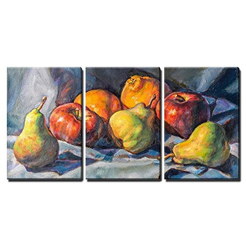 wall26 - 3 Piece Canvas Wall Art - Oil Painting on Canvas of a Fruit Composition - Modern Home Decor Stretched and Framed Ready to Hang - 16