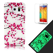 Samsung Galaxy S6 Edge Plus Case [with Free Screen Protector], Funyye [Night Luminous] Effect Fluorescent Glow In The Dark Ultra Slim Soft Silicone Gel TPU Rubber Case Cover Unique Fashion Beautiful Pattern (Plum Blossom) for Samsung Galaxy S6 Edge Plus