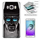 c00376 - Cool Fun Trendy Breaking Bad Cool Sunglasses Movie Design Samsung Galaxy J3 SM-J320F Complete 360° Degrees Hard Plastic Protection Case Cover Front&Back Case+Tempered Glass Screen